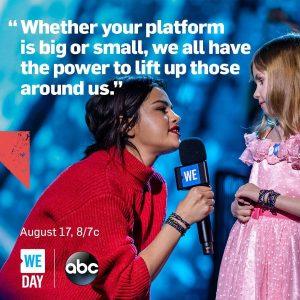 13 Августа Селена на Инстаграме: Так взволнованна быть частью вдохновения WE Day опять!