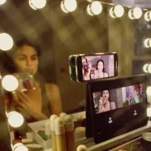16 Февраля новое фото Селены за кулисами создания видео для Rare Beauty