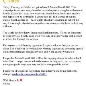 29 Апреля Селена запустила новый благотворительный фонд Mental Health 101