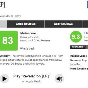3 Апреля Revelacion EP получает итоговую оценку 83 на сайте Metascore